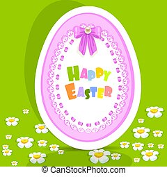 Egg-laced Easter postcard on green