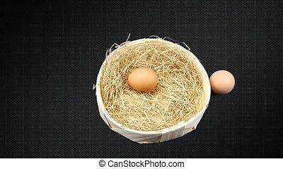 Egg moves toward the basket with straw. Organic product on...