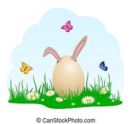 Egg on a grass
