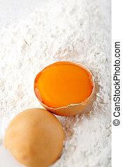 egg on flour