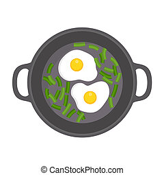 Egg on griddle icon, flat style