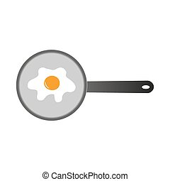 egg on the pan frying simple color icon eps10