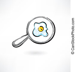 egg on the pan grunge icon