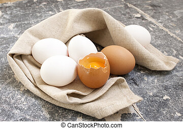 egg on the wooden background