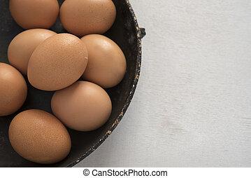 egg on wooden background