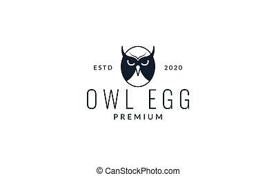 egg owl modern logo vector illustration design