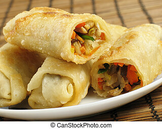 Egg Rolls - A delicious serving of egg rolls filled with...