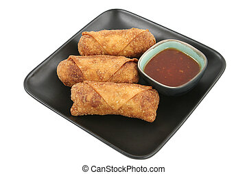 Egg Rolls & Chili Sauce Clipping Path
