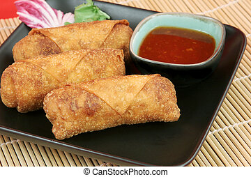 Egg Rolls - Crispy Chinese egg rolls with sweet, tangy chili...