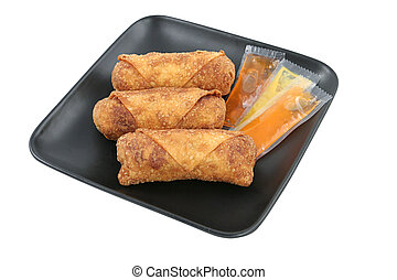 Egg Rolls & Sauces Clipping Path