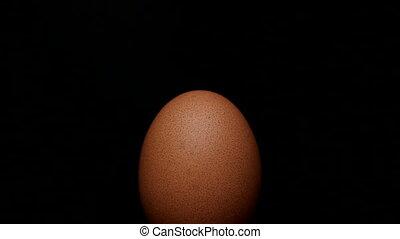 Egg rotating on isolated black
