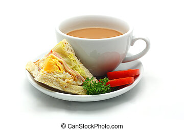 Egg sandwich and cup of coffee on a white background