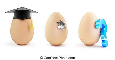 Egg set Graduation cap, Question mark on a white background 3D illustration
