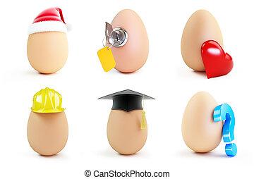 egg set on a white background 3D illustration