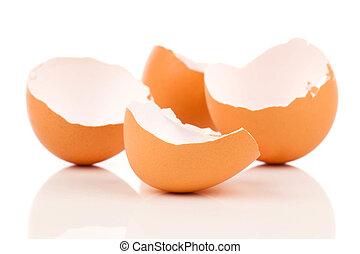 Egg shell crack isolated on white background