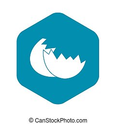 Egg shell icon, simple style