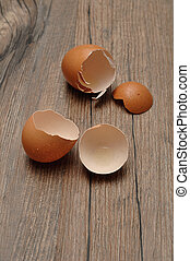 Egg shells on a wooden table