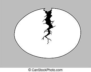 egg silhouette on gray background, vector illustration