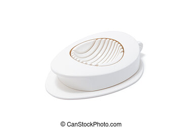 Egg slice or Egg cutter for cutting boiled eggs isolated on...