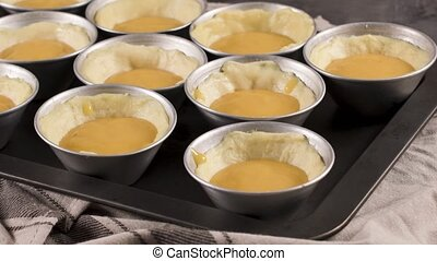 Egg tarts home production - Egg tarts, traditional...