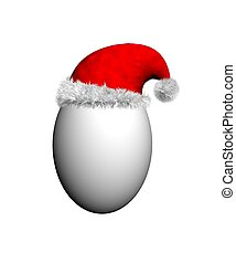 Egg wearing a red Santa hat with white fur