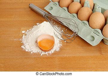 Egg whisk flour and eggs - Egg whisk flour with an egg yolk...