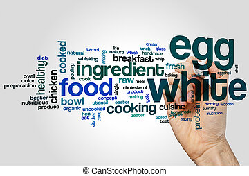 Egg white word cloud concept on grey background