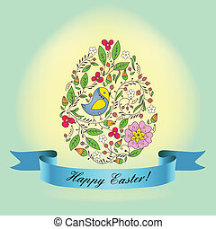 egg with a blue ribbon. Easter Gree