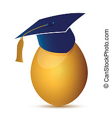egg with an graduation hat illustration design over a white...
