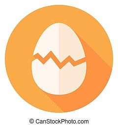 Egg with Broken Eggshell Circle Icon