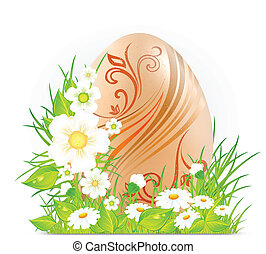 Egg with flowers & grass
