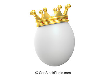 Egg with gold crown, 3D rendering