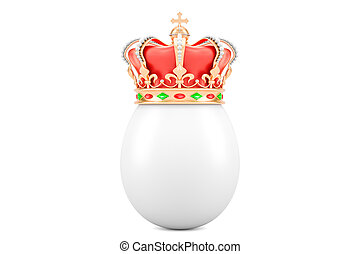 Egg with gold royal crown, 3D rendering