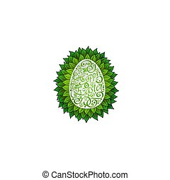 Egg with leaves