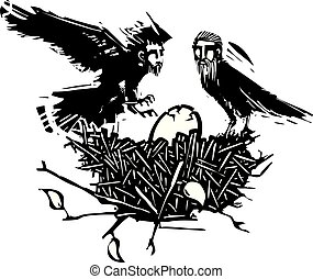 Egg with nest of men - Woodcut style expressionistic crows ...
