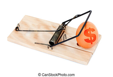Egg with symbol of dollar in mousetrap