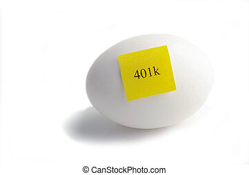 Egg with yellow 401k sticky note