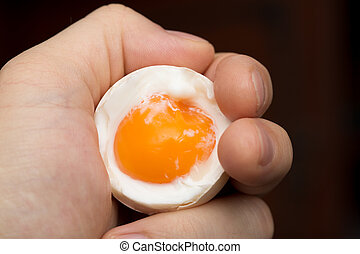 egg with yolk in a hand