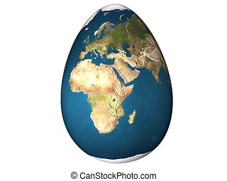 egg world - 3d egg with earth texture over white background...
