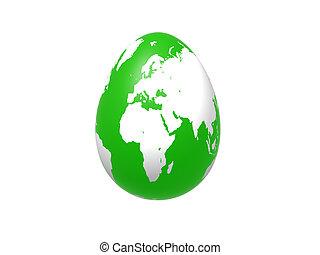 egg world in green - europe, africa, asia - 3d green egg...