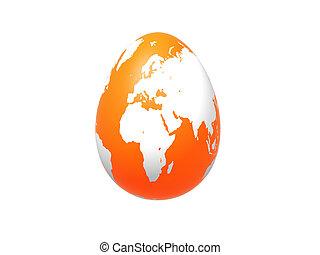 egg world in orange - europe, africa, asia - 3d orange egg...