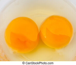 Egg yolk . - Chicken egg yolk on the disk.