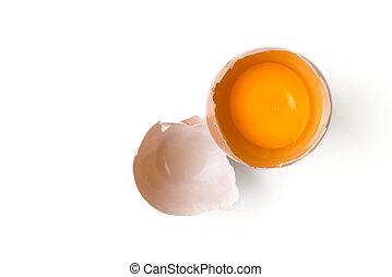 egg yolk on white background