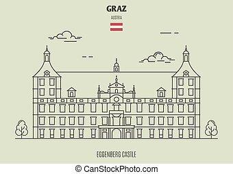 eggenberg, castillo, en, graz, austria., señal, icono