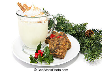 Eggnog with Fruitcake - Holiday eggnog with fruitcake, ...