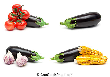 eggplant and other vegetables isolated on white background