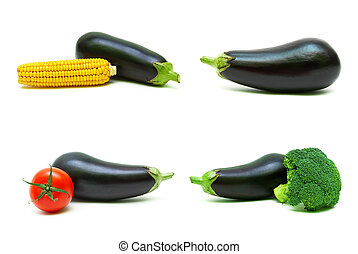 Eggplant and other vegetables on a white background.