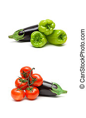 Eggplant and other vegetables on a white background