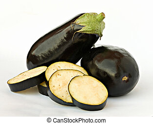 Eggplant and slices isolated on white background