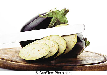 eggplant, aubergine sliced vegetable on the white background